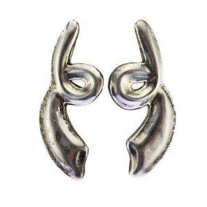 Taxco Sterling Silver Large Swirl Earrings